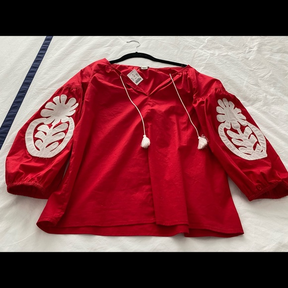 JCrew red and white boho top worn twice Cswy